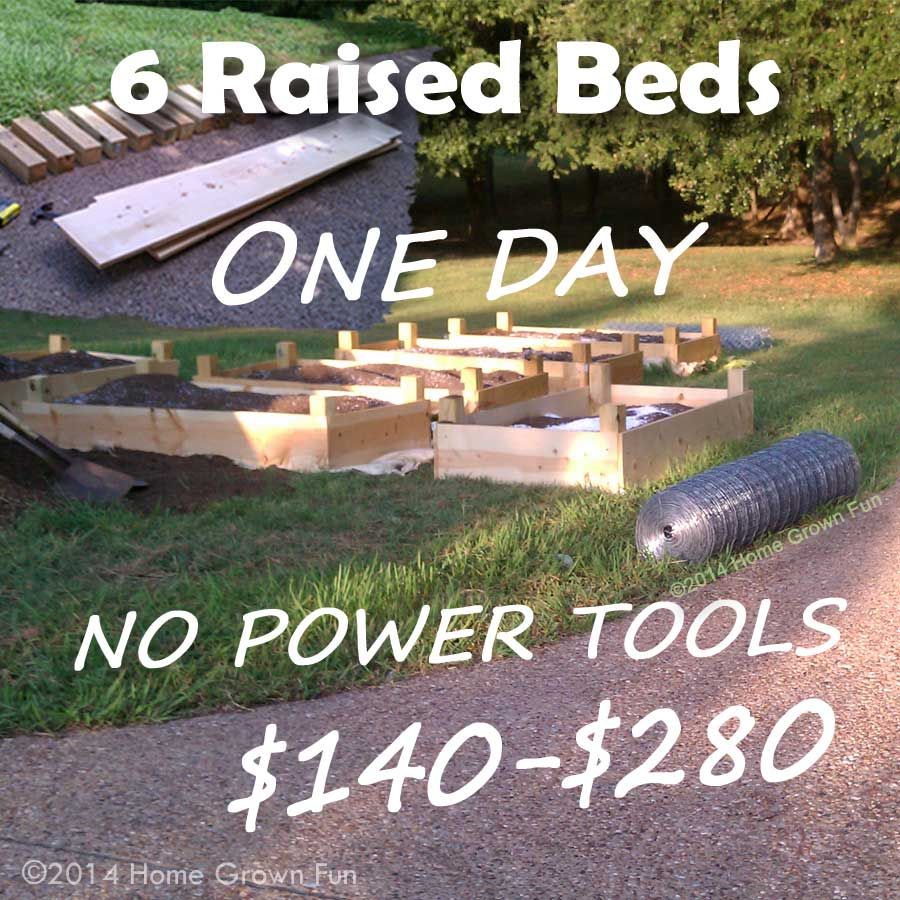 Build 6 Raised Beds in ONE DAY on a Budget | Home Grown Fun on pvc hoop greenhouse plans, raised beds from found materials, raised garden hoop, printable greenhouse plans, raised garden beds designs, garden bed plans, raised bed building plans, simple greenhouse plans, raised bed planting plans, raised bed planter box plans, raised bed greenhouse plans, raised bed gardening plans,