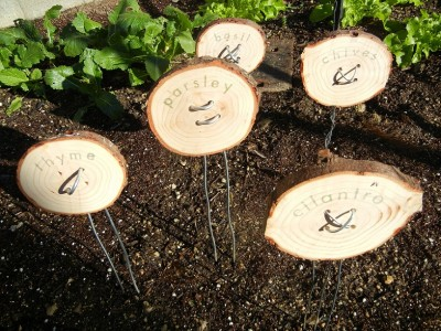 Homemade Garden Markers Using Clay, Wood and Found Objects
