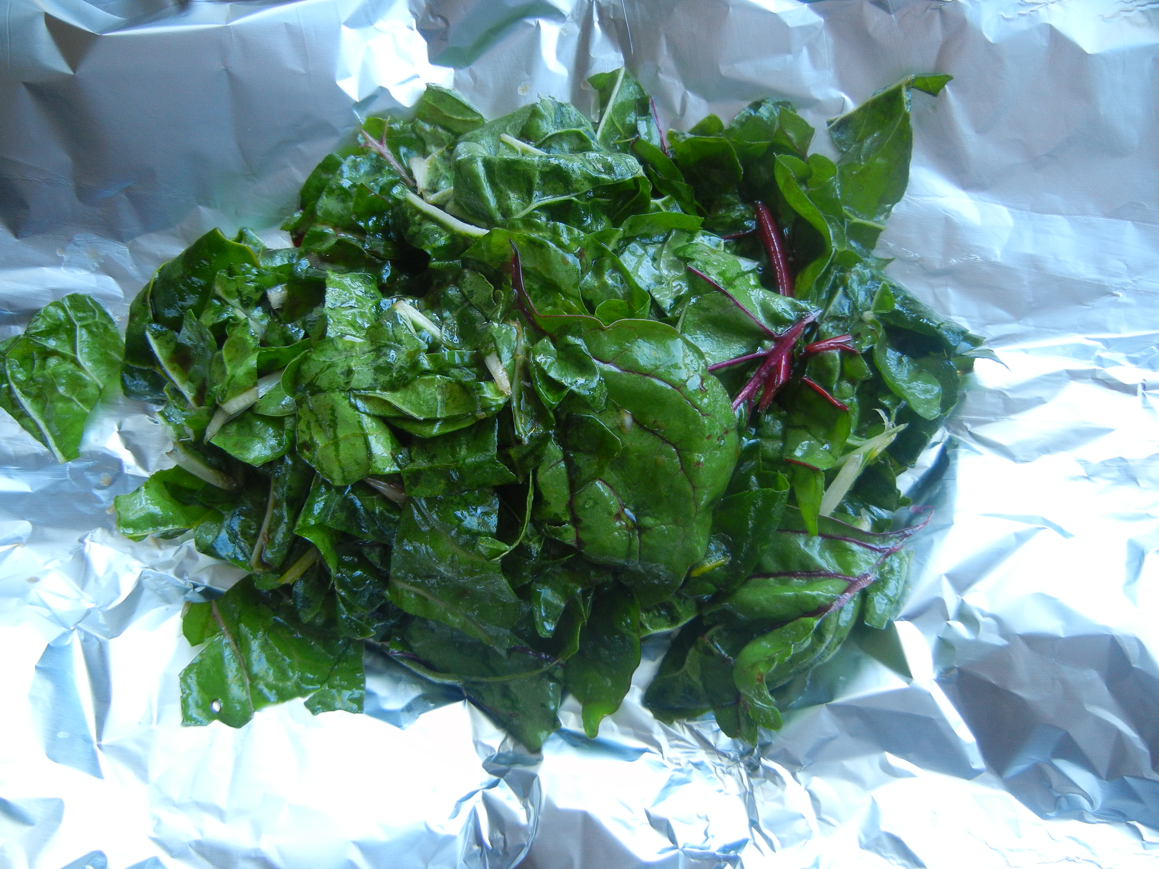 Swiss Chard ready to cook on the grill