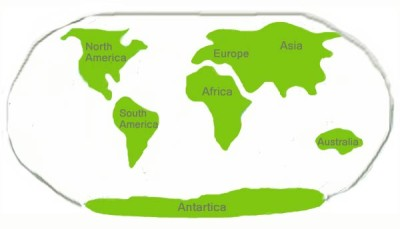 continents diagram for clay model