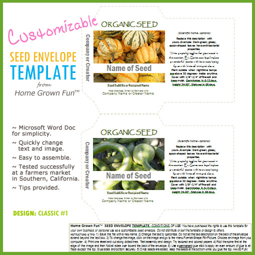 Printable seed envelope template